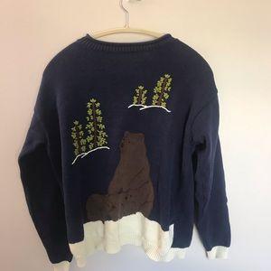 Vintage Cottagecore Bear Sweater | Size M